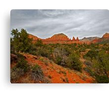 Red Rocks, Gray Sky Canvas Print