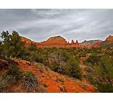 Red Rocks, Gray Sky Photographic Print