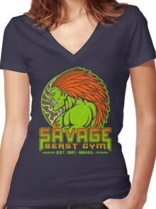 Savage Beast Gym Women's Fitted V-Neck T-Shirt