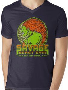 Savage Beast Gym Mens V-Neck T-Shirt