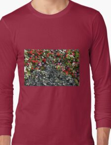 Natural background with small red flowers among green leaves. Long Sleeve T-Shirt