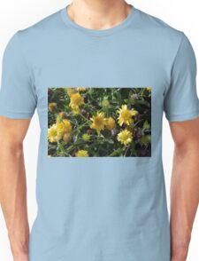 Many joyful yellow flowers in the garden. Unisex T-Shirt