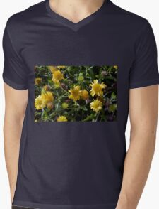 Many joyful yellow flowers in the garden. Mens V-Neck T-Shirt