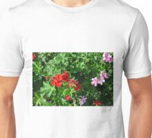 Colorful flowers in the garden. Unisex T-Shirt