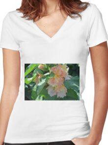 Beautiful delicate pink flowers and green leaves. Women's Fitted V-Neck T-Shirt