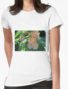 Beautiful delicate pink flowers and green leaves. Womens Fitted T-Shirt