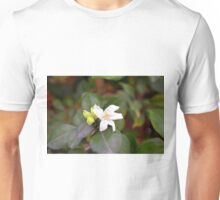 Small white flower and green leaves. Unisex T-Shirt