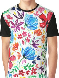 Bright Watercolor Wildflowers Design Graphic T-Shirt