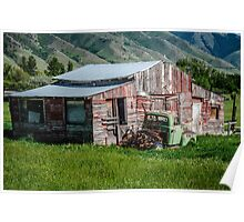 Barn with Green Truck Poster