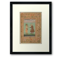 Jahangir and his Father, Akbar, Folio from the Shah Jahan Album Framed Print