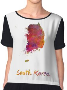South Korea in watercolor Chiffon Top