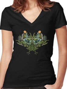 Moth with Plants Women's Fitted V-Neck T-Shirt