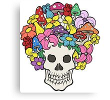 Skull with Afro Made of Flowers and Mushrooms Canvas Print