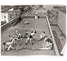 Women Boxing On Roof Poster