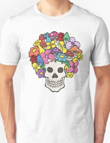 Skull with Afro Made of Flowers and Mushrooms T-Shirt