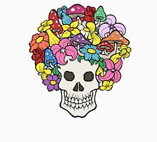 Skull with Afro Made of Flowers and Mushrooms Unisex T-Shirt