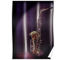 musical instrument,saxaphone photograph,photoshoped Poster