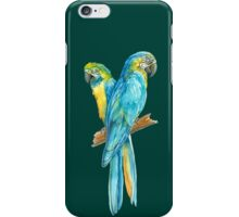 two yellow blue Ara parrots on a banch iPhone Case/Skin