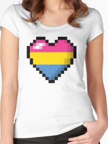 Pansexual Pixel Heart Women's Fitted Scoop T-Shirt