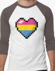 Pansexual Pixel Heart Men's Baseball ¾ T-Shirt