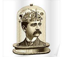Steampunk Clockwork brain mechanical head in jar Poster