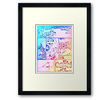Rainbow Asian Scroll Art Collage Bright Blue Pink Birds Yellow Red Flower Back to School Framed Print