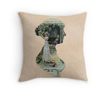 Portrait of Jane Austen, Dreaming of Romance, Janeite Fan Art, Book Page Paper Look Literary  Throw Pillow