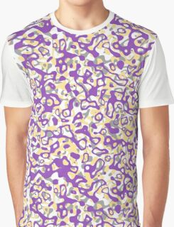 Multi Layer Abstract Pattern Purple/Grey/Cream Graphic T-Shirt