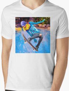 Skateboarding on Water Mens V-Neck T-Shirt