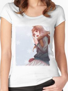 Holo The Wisewolf and snowflakes Women's Fitted Scoop T-Shirt