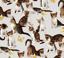 Kittens and Butterflies - a painted pattern by micklyn