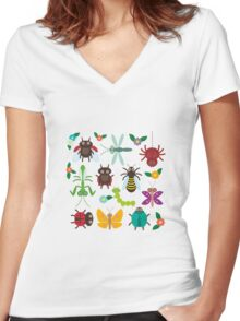 Insects on green Women's Fitted V-Neck T-Shirt