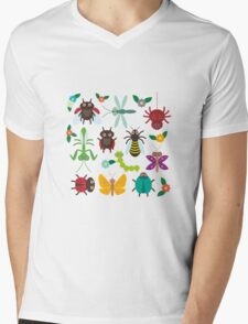 Insects on green Mens V-Neck T-Shirt