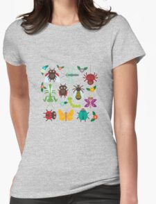 Insects on green Womens Fitted T-Shirt