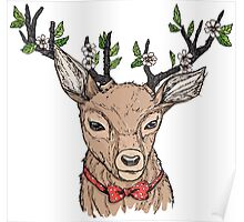 Deer with floral crown on antlers Poster