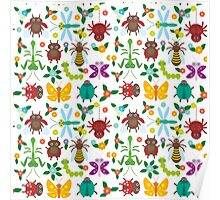 Insects on white Poster