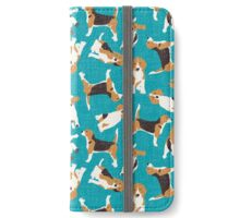 beagle scatter blue iPhone Wallet/Case/Skin