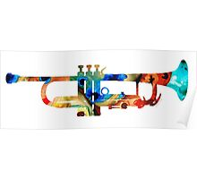 Colorful Trumpet Art By Sharon Cummings Poster