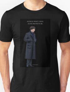 Sherlock - Alone is what protects me Unisex T-Shirt