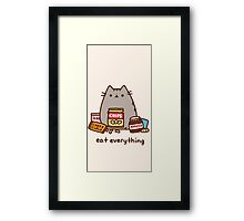 Pushen The Cat Eat Everything Framed Print