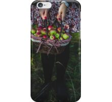 woman carrying a basket of apples iPhone Case/Skin