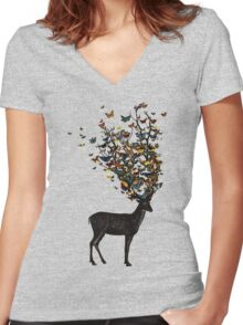 Wild Nature Women's Fitted V-Neck T-Shirt