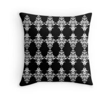 Gothic Black and White Damask Pattern Throw Pillow