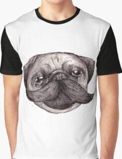 Mr Moustache Pug Graphic T-Shirt