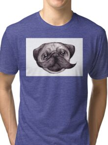 Mr Moustache Pug Tri-blend T-Shirt