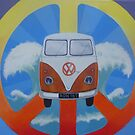 Groovy campervan on peace sign by Andy  Housham