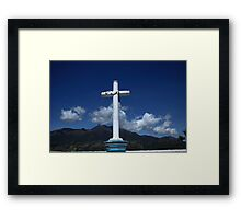 Cross and Mount Cotacachi Framed Print