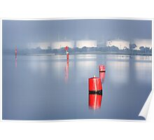 Red Markers - Corio Bay Poster