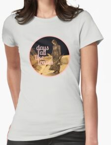 Days Fall like Leaves book sculpture logo Womens Fitted T-Shirt