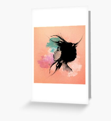 Psychedelic Blow Japanese Girl Dream Greeting Card